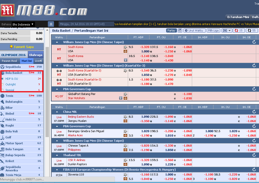 M88 Taruhan Bola Basket Online